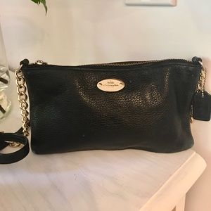 Coach crossbody purse with gold chain card wallet